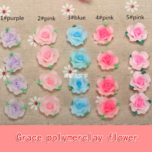 15pc/lot 15mm Resin Diy Accessory Flatback Mixed Polymer Clay Rose Shape Ceramic Flower Beads For Earing Jewelry Making Material(China)