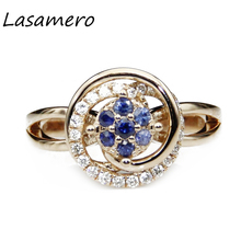 LASAMERO Natural Blue Sapphire Gemstone Center Diamond Halo Accents 14k Rose Gold Wedding Engagement Ring(China)
