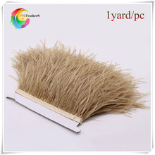 wholesale ribbon feather fringing 1yard long dyed camel real ostrich feather trims light tan real ostrich feather trimming(China)