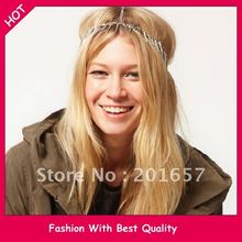 Wholesale and Retail fashion punk rivet  chain Europe design 3 layer headband elastic hairband silver color 12pcs/lot