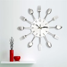 Charminer Modern Kitchen Wall Clock Sliver Clocks Spoon Fork Wall Stickers Mechanism Design Home Decor Horloge Top Quality