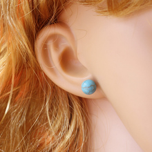 8mm Natural stone Stud Earrings Blue Howlite Women Earrings With 925 Sterling Silver Studs & Push Back