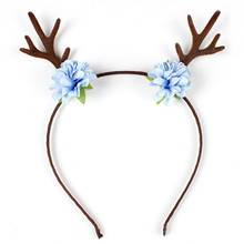 Women Girls Personality Funny Cute Deer Horn Ear Flower Hairbands Hair Clips Handmade Headbands For Christmas Party/Photo Shoot