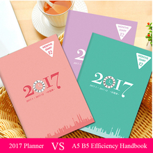 2017 A5 B5 Paper Notebook Agenda Planner Organizer Composition Personal Diary Memos Business Travel Journal Office Notepad Books