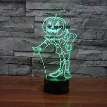 Touch switch gift 3D lights colorful pumpkin people LED visual decoration USB lamp Halloween Party decoration(China)