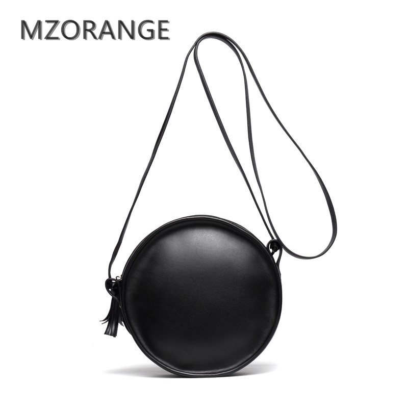 MZORANGE 2018 Genuine leather women handbag fashion Tassels small round bag Unique design brand Lady shoulder bag messenger bag<br>