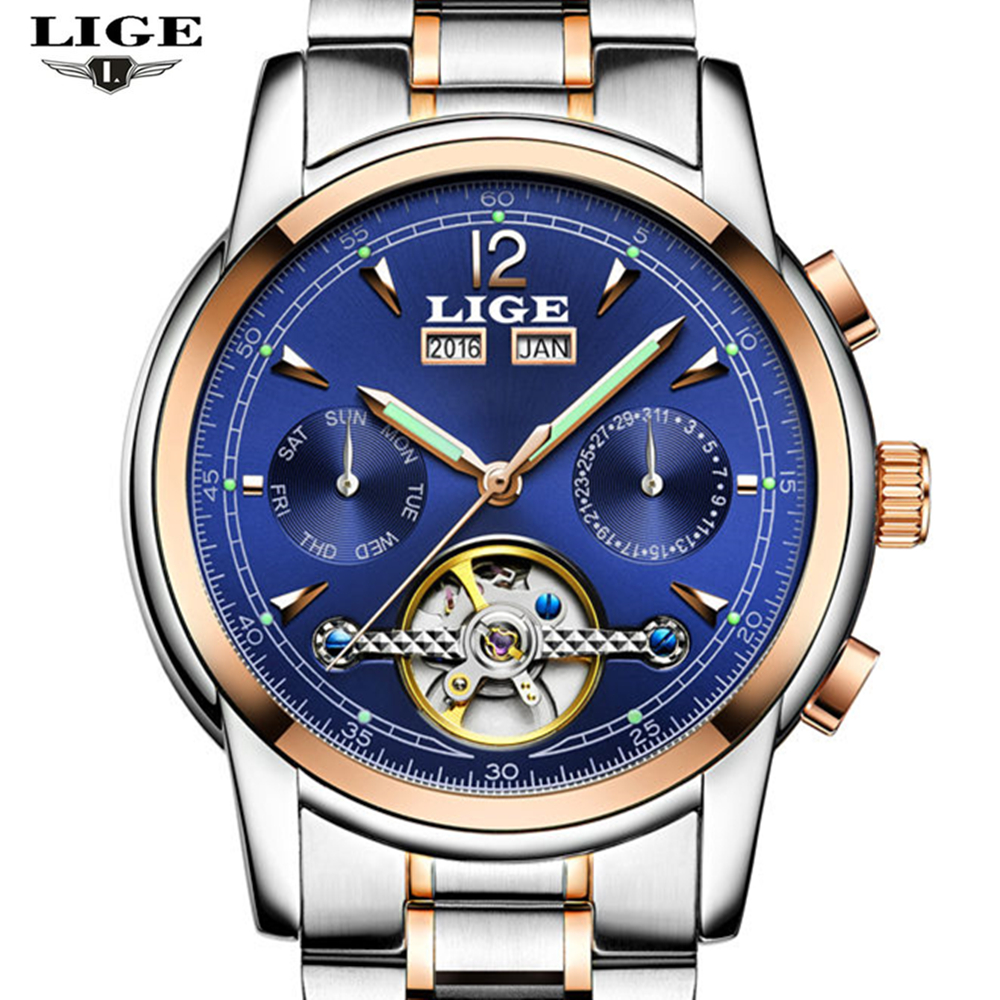 LIGE Top luxury brand male waterproof sports watch mens brand leisure tourbillon automatic mechanical Watches relogio masculino<br>