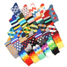 WARBOYS 5 pair/lot Happy Socks Oil Painting Combed Cotton Brand Harajuku Men Socks Colorful Dress knit Crew Long Funny Socks