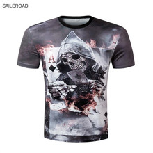 Fashion Men's Casual 3D Skull Printed Short Sleeve T shirt Man's T shirt Men Clothes Camiseta Masculino Plus Size Homme Tops Tee(China)