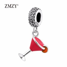 ZMZY Original 925 Sterling Silver Charms Crystal Cocktail Enamel Dangle Beads Fits Pandora Bracelets Jewelry 6 Style Choose(China)