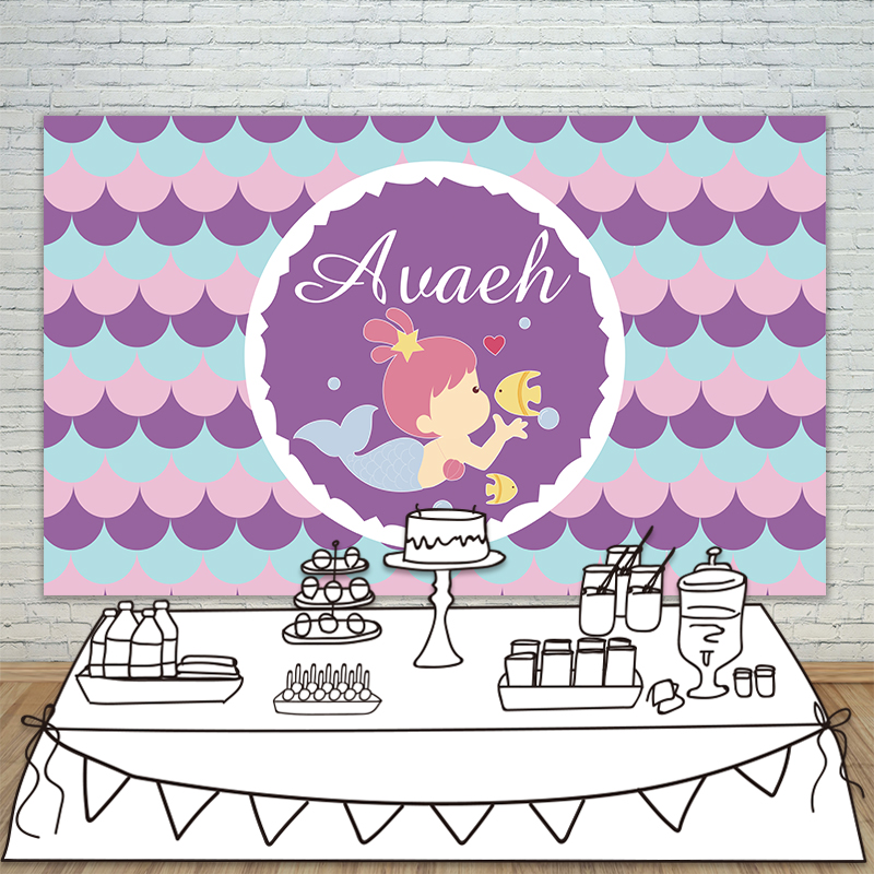 Allenjoy Girls Birthday backdrops baby shower background Beauty and fish purple birthday photobooth party banner customize<br>