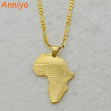 Anniyo 8 Style/Map of Africa Pendant Necklace Chain 45cm/60cm African Map set Jewelry Gold Color Jewellry for Women/Men/Girl(China)