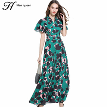 H Han Queen New Summer Women's Retro Camouflage Leopard Print Maxi Long Dresses Casual Slim Ruffles Placed Party Dress Vestidos