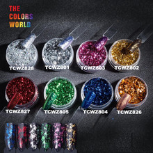 TCWZF-001 Colorful Flakes Metallic luster Magic Mirror Effect Powders Sequins Nail Gel Polish Chrome Pigment Decorations