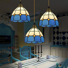 Drop Lamps Blue Mediterranean Style Living Room Restaurant Chandeliers 3 Irons American Pastoral Country led Lights(China)