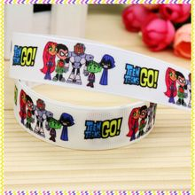 7/8'' Free shipping teen titans go printed grosgrain ribbon hair bow headwear party decoration wholesale OEM 22mm H4219