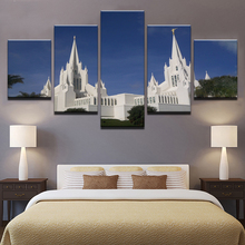 Canvas Pictures Home Decor Wall Art 5 Pieces Mormon Temple Paintings Living Room HD Prints Church Jesus Christ Poster Framework(China)