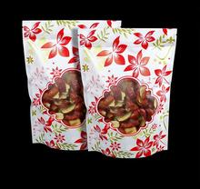 Qin.01.19/24*35+4cm Flower printed Plastic Window Bag Stand Up Zip Lock Bag Plastic snack Packing Food Pouch Zipper Grip