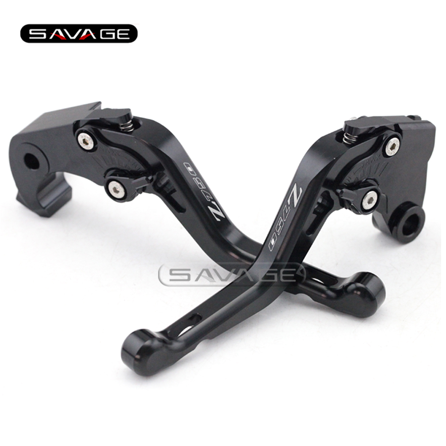 For KAWASAKI Z750 R Z750R 2011 2012 2013 Black Motorcycle CNC Aluminum Adjustable Short Brake Clutch Levers logo Z750<br>