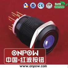 ONPOW 19mm black latching dot illuminated pushbutton switch LAS1GQ-11ZD/B/12V/A