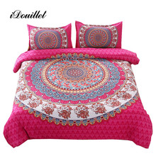 iDouillet Pink Mandala Boho Bedding Set Bohemian Doona Duvet Cover with Pillowcases Indian Elephant Twin Full Queen King Size