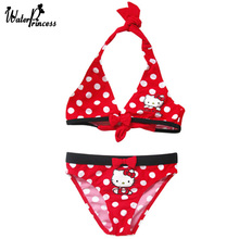 WATER PRINCESS Bikini 2017 Girl Swimsuit Swimwear Hello Kitty Girl's swimming suit Biquini Summer Bather Beach Wear Bathing Suit(China)