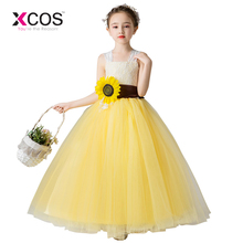 c616b214c 2019 New Flower Girl Dresses For Weddings Beige Lace Top Yellow Tulle Ball Gown  Sunflower Sash