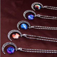 2017 Special Gift Galaxy Necklace 11 Colors Classic Galactic Glass Round Moon Pendant Sterling Long Necklace For Women N1882