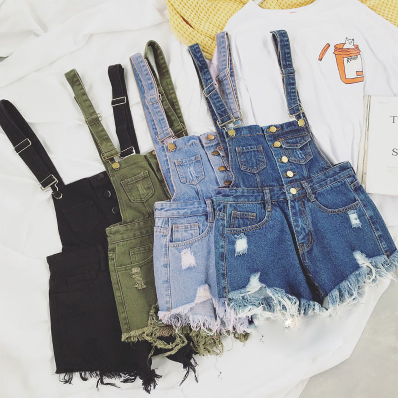 The new college wind denim strap shorts female summer hole loose Korean students was thin sling tide (1)