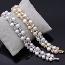JY Fashion Pearl Bracelet For Women Luxury Zircon Bangles For Women Elegant Party Jewelry Woman Best Love Gift Special Design