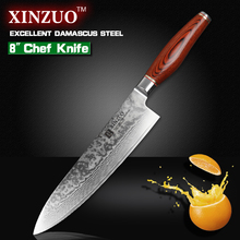 XINZUO chef knife Japanese Damascus kitchen knife kitchen tool cooker knife Western chef knife pakka wood handle free shipping