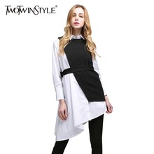 TWOTWINSTYLE 2017 Summer Women Two Piece Set Long Sleeves Asymmetrical White Shirts Blouses Tops Lace up Black Vest Tanks Suit(China)