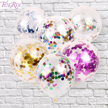 FENGRISE 5pc Multi Clear Confetti Balloon Romantic Wedding Decoration Gold Foil Confetti Birthday Balloons Party Favors Supplies