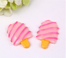 New 25pcs/ 25*23mm Resin cute simulation pink striped ice cream kawaii cabochon for phone deco childrens hair accessories