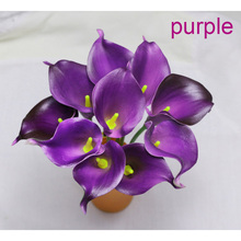 NEW 10Pcs/lot purple 34cm Decorative Artificial Flower Real Touch Calla Lily for Wedding Bouquet Bridal Party Home Decoration
