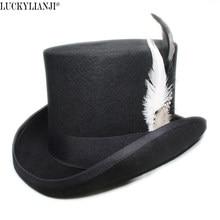 Luckylianji 4 tamaños mujeres hombres unisex de alta ronda plana lana pluma  sentían mago Presidente Lincoln c52b2cd9227