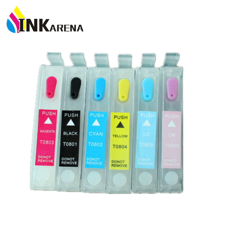 T0801 Refillable Ink Cartridge for Epson R265 R285 R360 RX560 RX585 RX685 P50 PX650 PX700 PX800 PX710 PX720 PX810 PX820 Printer<br><br>Aliexpress