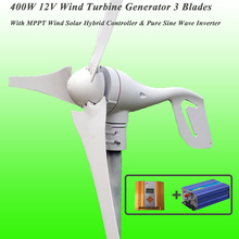 Great Discount 3 Blades 400W 12V Wind Turbine Generator With MPPT Wind Solar Hybrid Controller & 1KW Pure Sine Wave Inverter