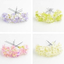 5pcs/lot Pink Glitter Resin Flower Hair Stick Wedding Bridal U Shape Hair Accessories Bride Ivory Purple Green Flower Hair Pin(China)