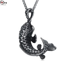 NFS 4.4CM Stainless Steel Cast Pendant Animal Modeling Carp Pendant Necklace Working Life Good Luck Fish Men Necklace(China)