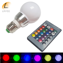 E27 LED 16 Color Changing RGB Magic Light Bulb Lamp 85-265V 110V 120V 220V RGB Led Light Spotlight + 24key IR Remote Control