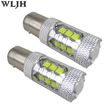 WLJH 2x 1200lm 12V 24V 1157 BAY15d P21/5W 2057 2357 LED Light Bulbs Car Auto Blinker Parking Break Lamp Turn Signal Backup Bulb(China)