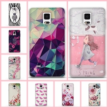Case Cover For Samsung Galaxy Note4 Silicon Soft TPU 3D Flower Phone Back Skin Cover For Fundas Samsung Galaxy Note 4 N9100 Capa(China)