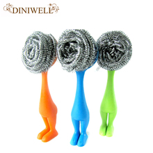 Useful Kitchen Pot Cleaning Brush Steel Wire Ball Amaranth Handle Scourer Novelty Home Clean Tools