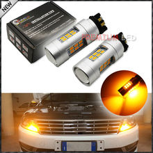 (2) Amber 10W PWY24W LED Replacement Bulbs For Audi A3 A4 A5 Q3 BMW i3 Volkswagen Gti Golf 7, etc For Front Turn Signal Lights