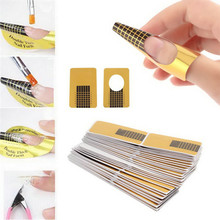 100Pcs Golden Nail Art Tips Extension Forms Guide French DIY Acrylic UV Gel Kit,free shipping, wholesale-factory price(China)