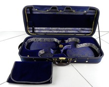 Strong&Sturdy 4/4 Full Size Wooden Double Violin Case Blue&Black Color