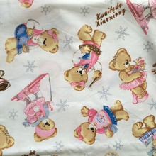 1 meter Sound of music bear twill 100% cotton cloth baby bedding textile cartoon fabric for sewing patchwork quilt width 1.6M
