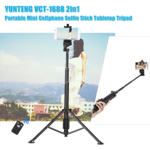 YUNTENG VCT-1688 2in1 Mini Table Tripod Selfie Stick w/ Remote Control for Smartphones DSLR ILDC Action Camera Travel Live Show