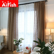 Modern Brief Fluid Gardine Solid Color Thicken Linen Blinds Curtains For Doorways High Grade Bedroom Living Room Drapes DY036-30